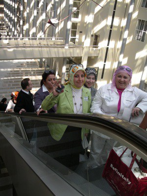 Members of Turkish women's organisation KA.DER on a visit to the Dutch parliament building